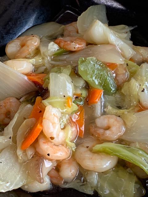 えびと野菜の塩炒め