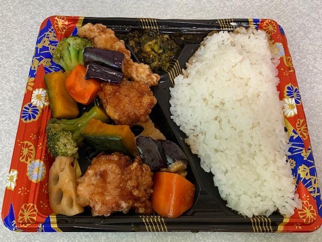 鶏黒酢和え弁当